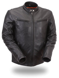 Mens Sleek Vented Leather Jacket - HighwayLeather