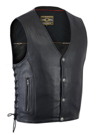 Straight bottom Gun pocket leather vest - highwayleather