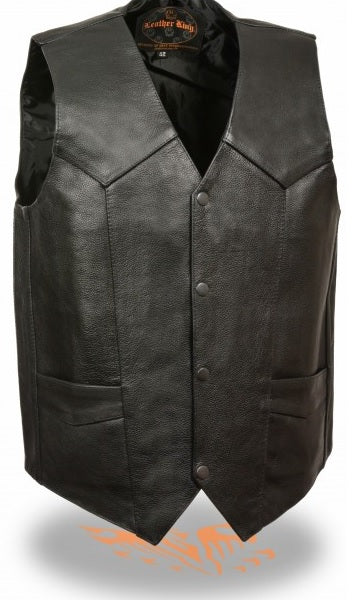 Gun pocket traditional leather vest - highwayleather