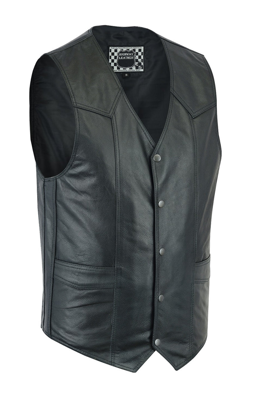 Men's Classic Snap Front with Ammo pockets Biker Leather Vest - HighwayLeather