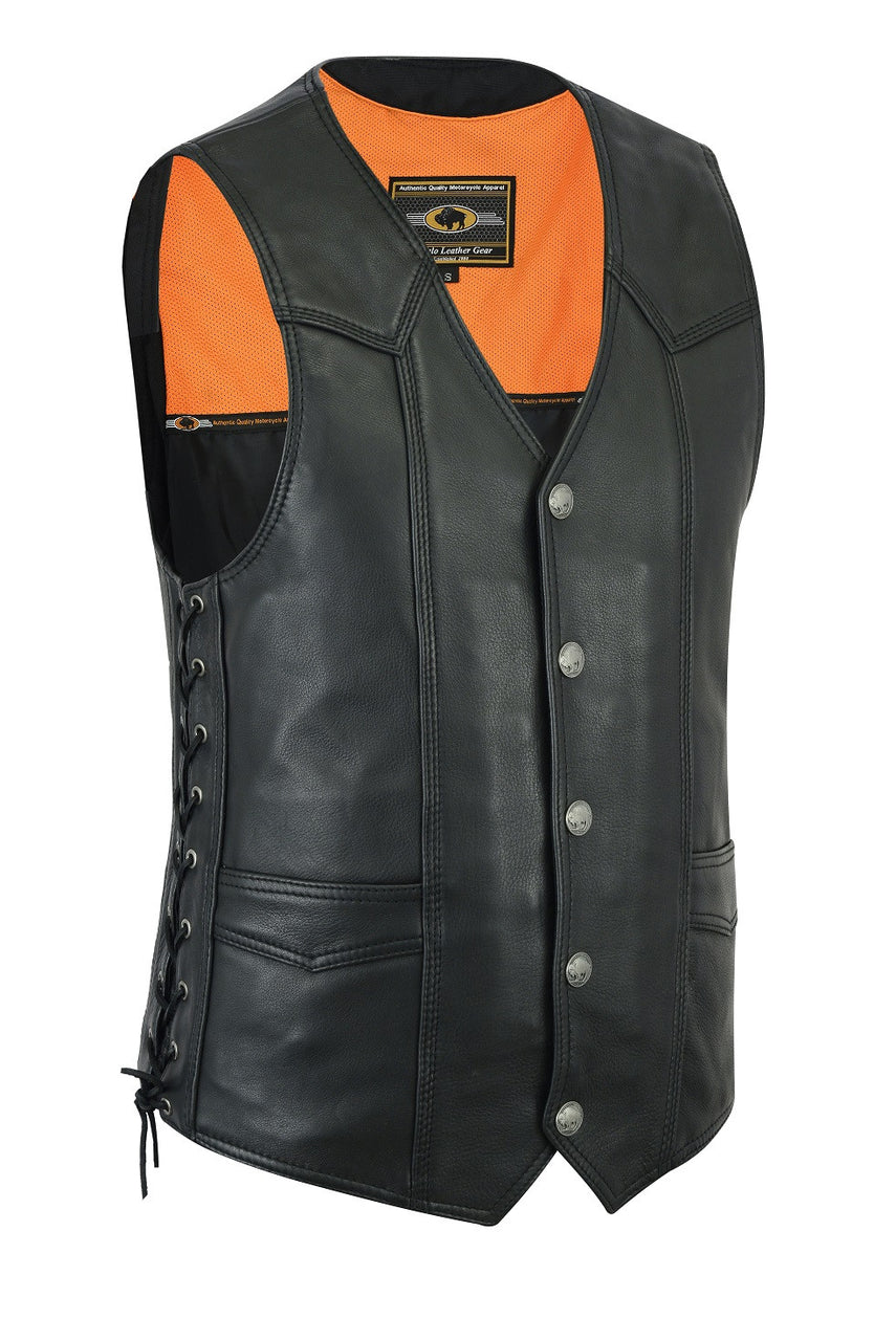 Highway Leather Basic Motorcycle Leather Vest - HighwayLeather