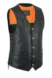 Men's high end string side leather vest w/Buffalo Snaps - highwayleather