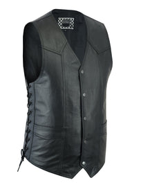 Men's Classic Snap Front Lace side leather vest - highwayleather