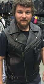 OLD SCHOOL LEATHER VEST - HighwayLeather