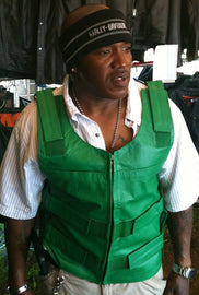 Green Bulletproof Style tactical street leather vest - Zippered - highwayleather