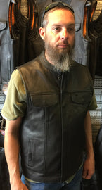 Outlaw Leather Club Vest Zipper/Snap Inside Gun Pockets - HighwayLeather