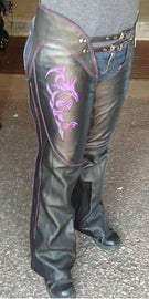 Purple hip hugger women leather chap - highwayleather