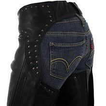 Studded hip hugger women leather chap - highwayleather