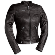 Queen of Diamonds Ladies Quilted Leather Jacket - highwayleather
