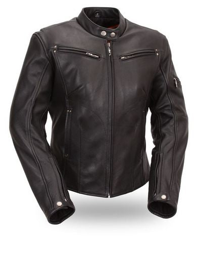 Women's Sleek Vented Scooter Jacket - highwayleather