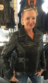 Womens Arcadia Distressed Leather Jacket - HighwayLeather