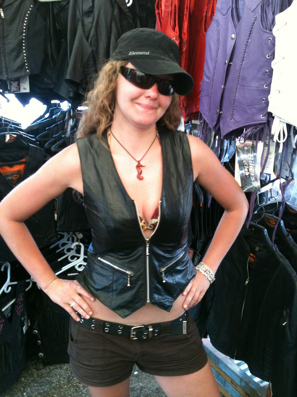 Women's Zip up Leather Vest - HighwayLeather