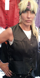 Women's Side-Lace Leather Vest - The Classic - HighwayLeather