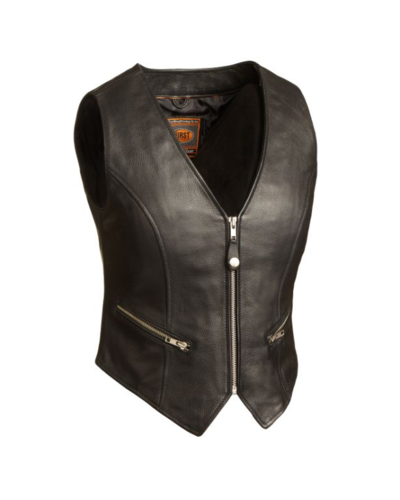 The Montana Women zipper crop leather vest - HighwayLeather