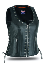 Women's Eyelet  Leather Vest - Longer Length - HighwayLeather
