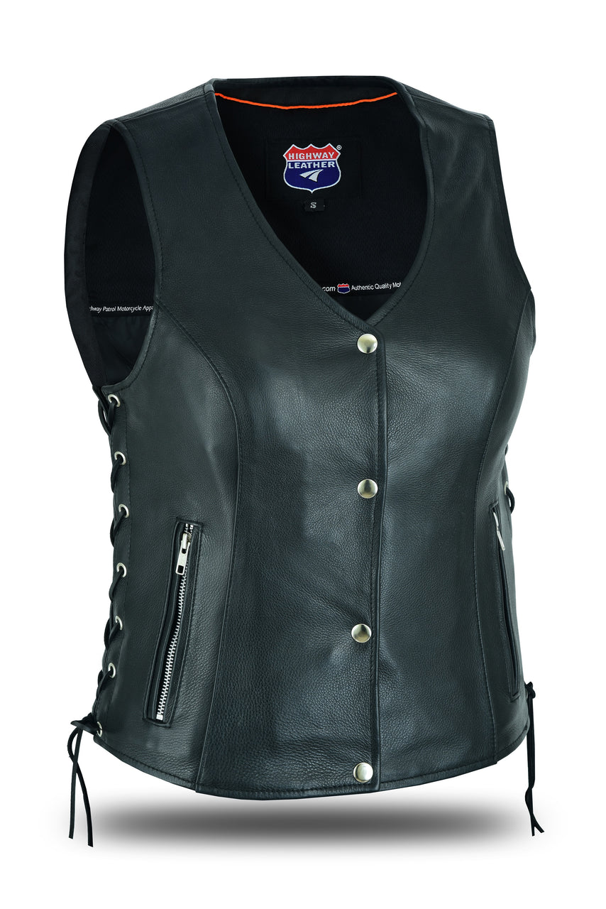Women's Lace up side leather motorcycle vest - HL14851SPT - HighwayLeather