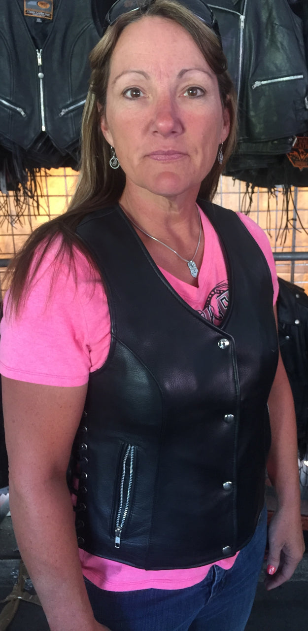 Women's Lace up side leather motorcycle vest - highwayleather