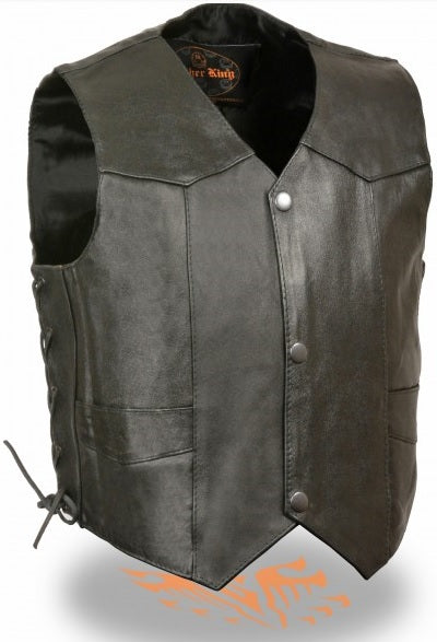 Toddler leather vest - string side - highwayleather
