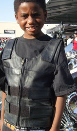 Kid's Bulletproof Style Leather Vest - HighwayLeather