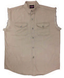 Biker denim cutoff sleeve shirt - Beige - HighwayLeather