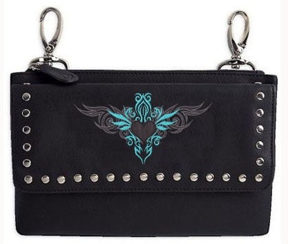 Clip pouch turquoise tribal Heart - teal - HighwayLeather