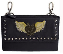 Clip pouch barbed wire golden heart with wings - HighwayLeather