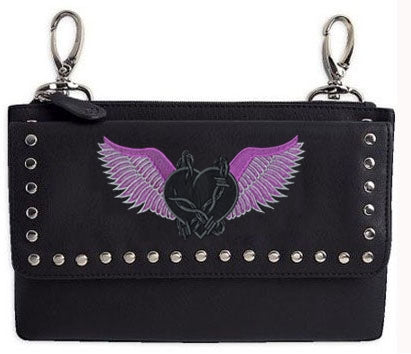 Clip pouch barbed wire purple heart with wings - highwayleather