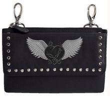 Grey barbed wire heart with wings hip clip bag - HighwayLeather