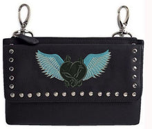 Turquoise teal barbed wire heart with wings hip clip bag - HighwayLeather