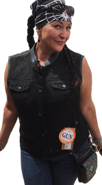 Womens Black Denim Motorcycle Vest - HighwayLeather