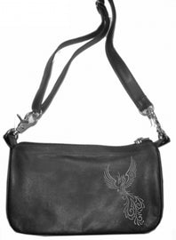 Phoenix bird grey hip clip bag - HighwayLeather