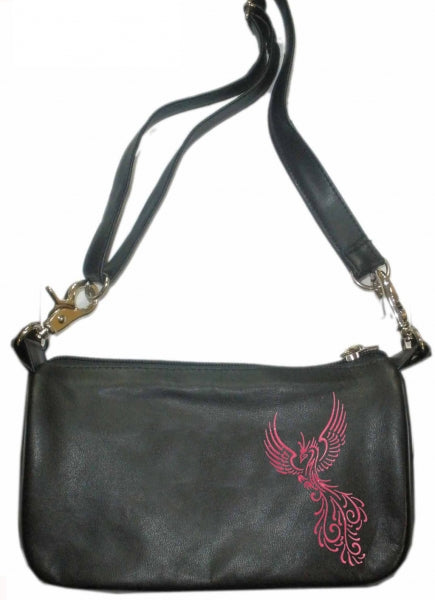 Phoenix bird red hip clip bag - HighwayLeather