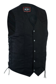Denim Black Motorcycle Vest - Side Lace - HighwayLeather