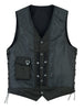 Highway Leather Denim Black Motorcycle Denim Vest Biker Men Gun Pocket # HL21614 Side Lace - HighwayLeather