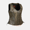 Charcoal Brown Hamilton washed leather vest - highwayleather