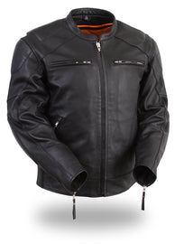 Men's Vented Jacket with Side Stretch - highwayleather