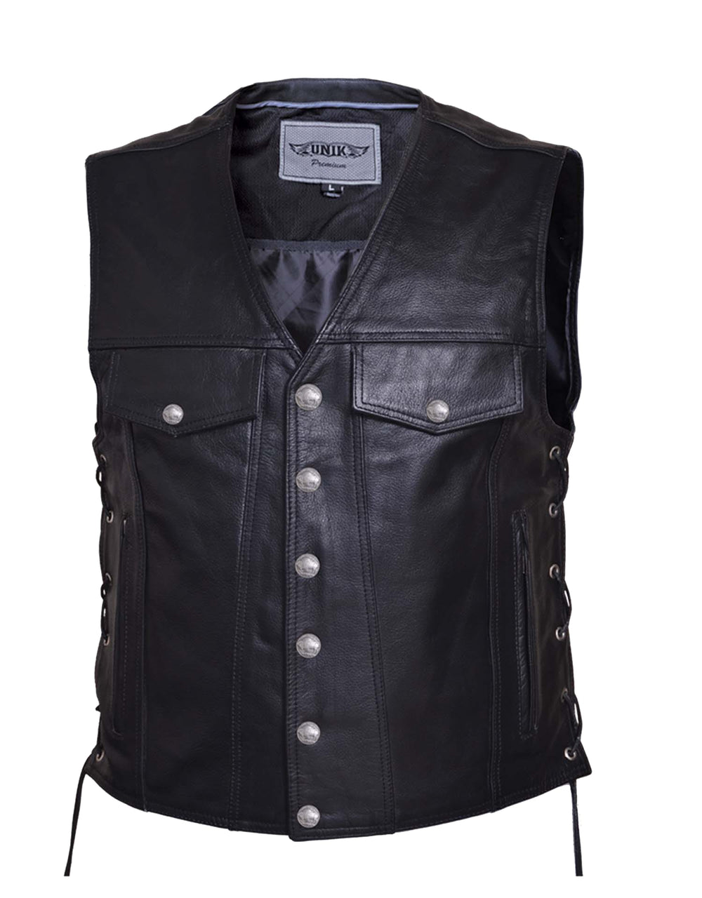 Men's Premium Leather Motorcycle Vest Biker Club Leather with Gun pockets one piece back for patches - HighwayLeather