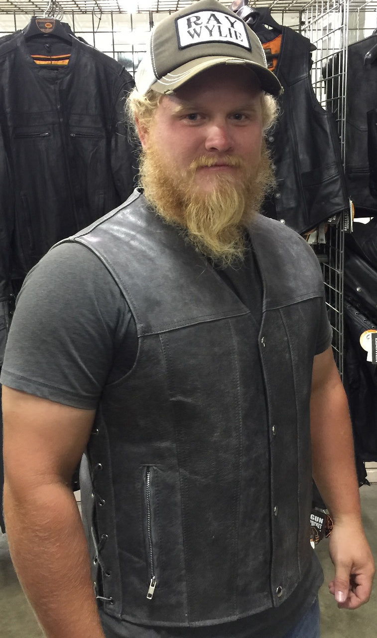 GRAY Straight bottom Gun pocket leather vest - highwayleather