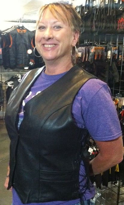 Tall Women Gun Pocket Vest - String Side - HighwayLeather