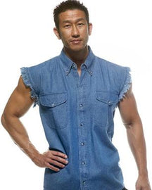 Biker denim cutoff sleeve shirt - Blue - HighwayLeather