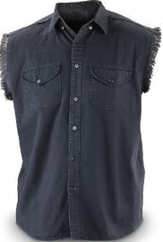 Biker denim cutoff sleeve shirt - Black - HighwayLeather