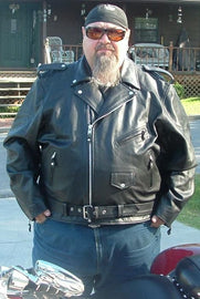 Tall Classic Motorcycle Leather Jacket - Biker Long Sleeve MC Jacket - SH1011T - HighwayLeather