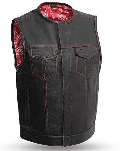 RED PAISLEY SOA Men's Leather Vest Anarchy Motorcycle Biker Club Concealed Carry Outlaws - HighwayLeather