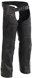 Men's Leather Chaps w/ Zippered Thigh Pockets & Heated Technology