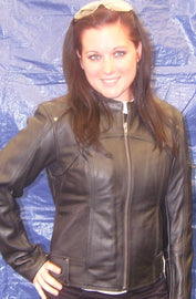 Women accentuating euro motorcycle scooter jacket - highwayleather