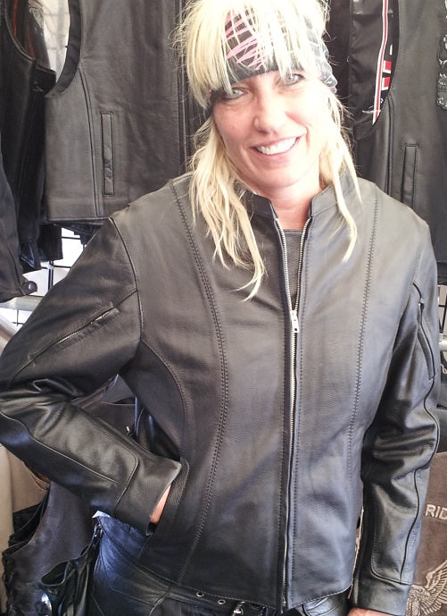 Bombshell leather jacket - side buckle - highwayleather