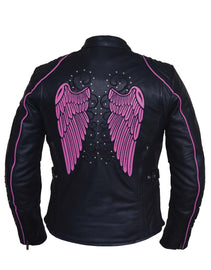 Ladies Premium Motorcycle Jacket with Angel Wing Design - 6824-24-Hot Pink - HighwayLeather