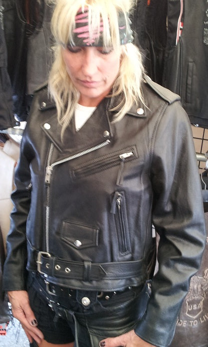 Basic MC leather jacket for women - highwayleather
