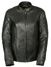Women's Racer Style Jacket w/ Side Buckles - HighwayLeather