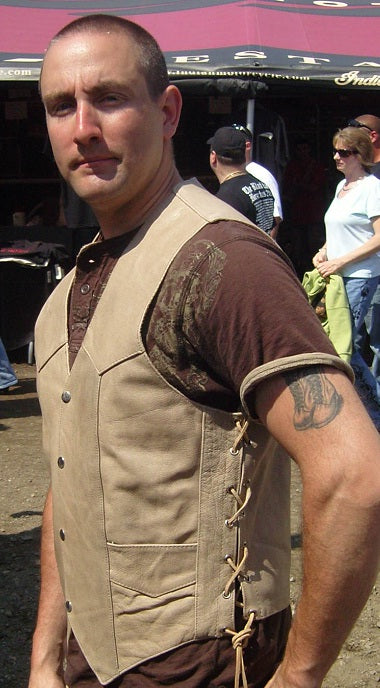 Distressed brown leather motorcycle vest - side lace - highwayleather